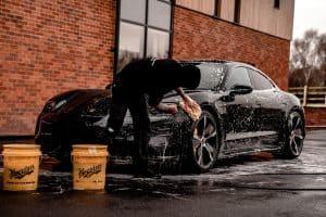 washing a black car